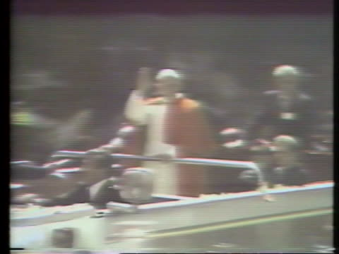 millions of people cheer the arrival of pope john paul ii at the latin american bishop's conference in peubla, mexico. - religion or spirituality stock videos & royalty-free footage