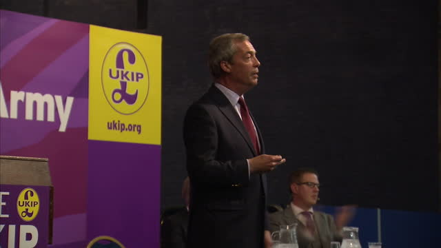 millions of people who voted for ukip at the european elections will continue to back the party in 2015 shows interior shots of nigel farage leader... - 英国独立党点の映像素材/bロール