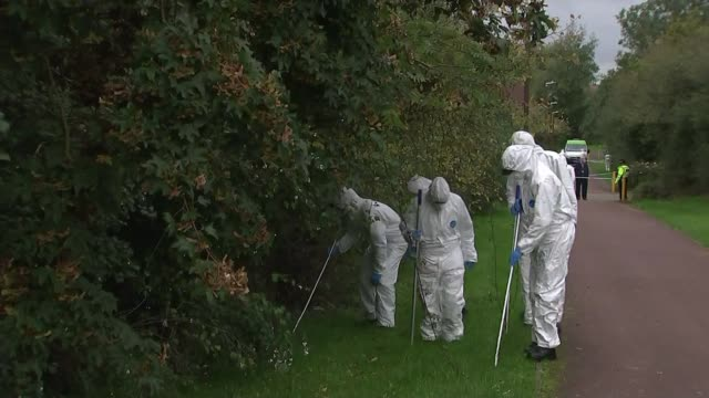 milton keynes stabbings: detectives say victims were deliberately targeted; england: milton keynes: ext various shots of forensics officers searching... - searching stock videos & royalty-free footage