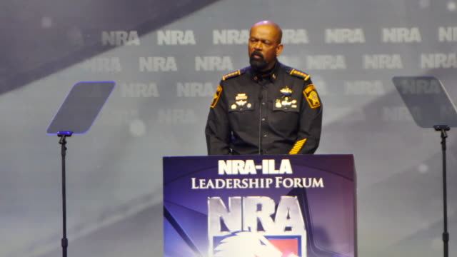 milwaukee county sheriff david clarke speaks may 20 2016 during the national rifle association convention in louisville kentucky united states... - national rifle association stock videos & royalty-free footage