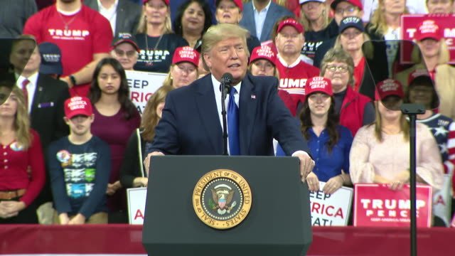 milwaukee, wi, u.s. - president donald trump speaks about decimating isis and taking out iranian general qasem soleimani on tuesday, january 14, 2020. - political rally stock videos & royalty-free footage