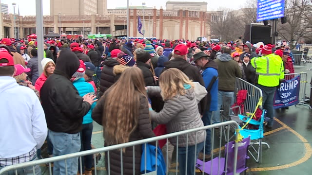 wgn milwaukee wi us supporters gathering for trump's rally at uw–milwaukee panther arena on tuesday january 14 2020 - woolly hat stock videos & royalty-free footage