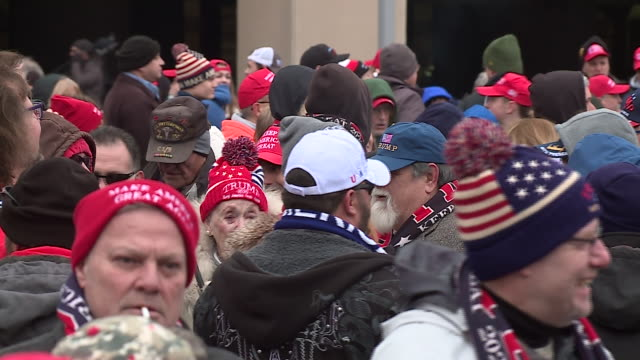 wgn milwaukee wi us trump supporters gathering for rally in milwaukee on tuesday january 14 2020 - woolly hat stock videos & royalty-free footage