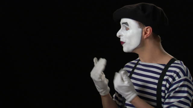 mime beckoning 2 - formal glove stock videos and b-roll footage