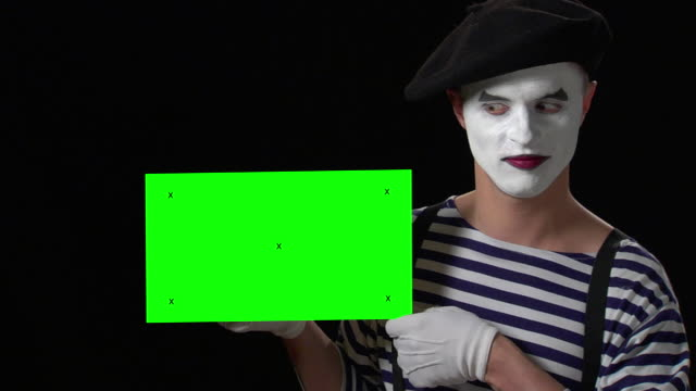 mime green card 6 - small with tracking points - mime artist stock videos & royalty-free footage