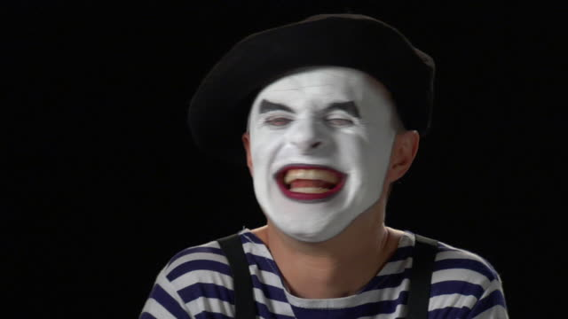 mime laugh - close up - formal glove stock videos and b-roll footage