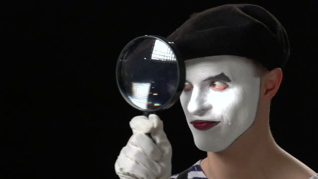 mime magnifying glass 2 - surprise - pantomime stock videos and b-roll footage