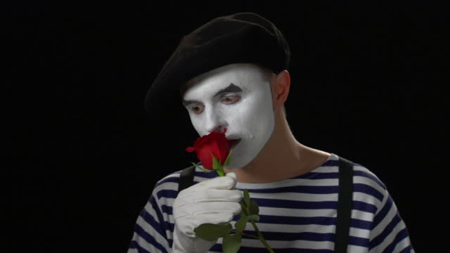 mime rose in mouth 1 - mime stock videos & royalty-free footage