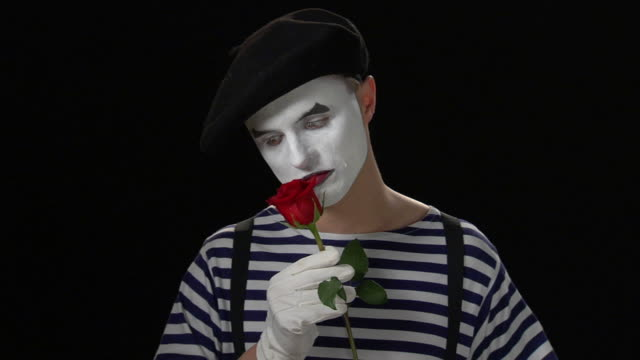 mime rose love - medium close up - mime artist stock videos & royalty-free footage