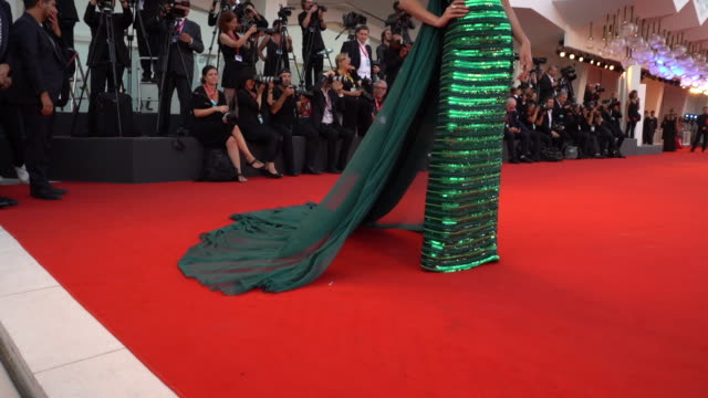 min pechaya wattanamontri at 'j'accuse' red carpet arrivals 76th venice film festival at on august 30 2019 in venice italy - gold dress stock videos & royalty-free footage