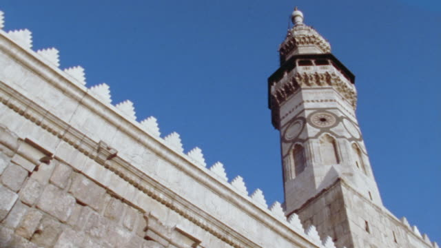 la, ms, minaret of grand mosque of damascus, damascus, syria - minaret stock videos & royalty-free footage