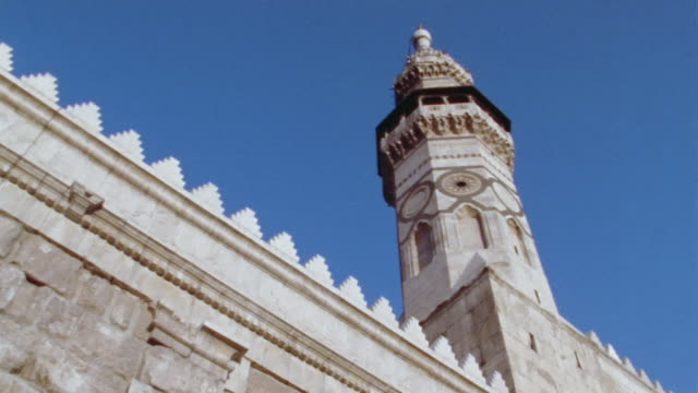 la, ms, minaret of grand mosque of damascus, damascus, syria - minareto video stock e b–roll