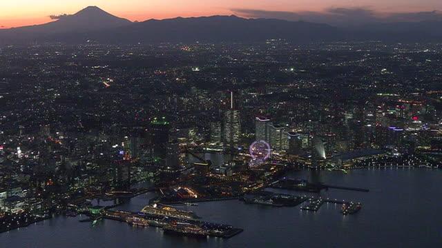 aerial, minatomirai with mt fuji at dusk, yokohama, japan - tokyo bay stock videos & royalty-free footage