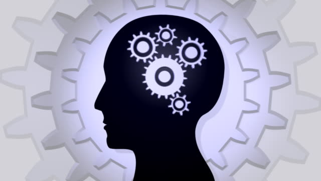 mind 01 gears white - human brain stock videos & royalty-free footage