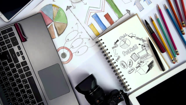 Mind mapping illustration at office desk with equipment / business goals conceptual