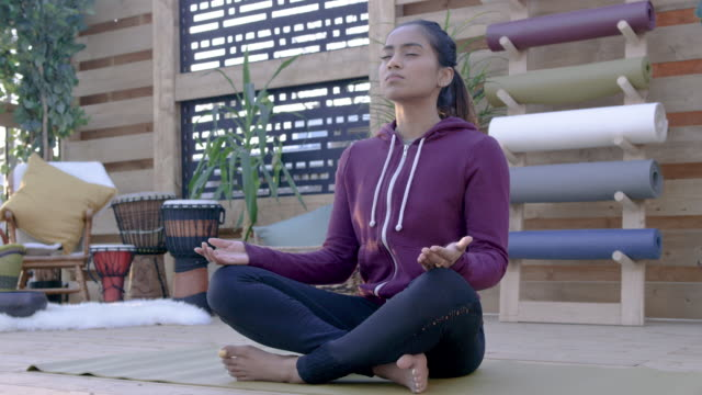 mindfulness meditation breathing - decking stock videos & royalty-free footage