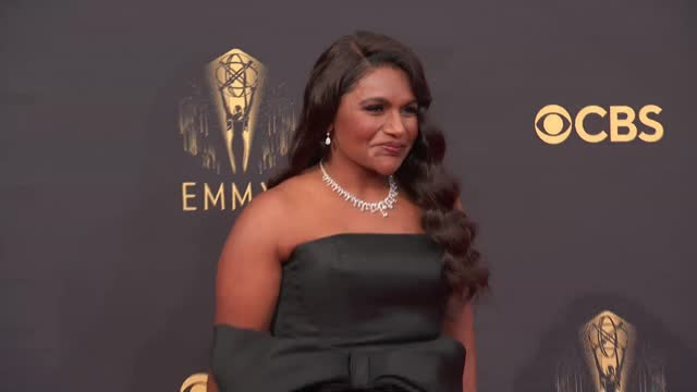mindy kaling arrives to the 73rd annual primetime emmy awards at l.a. live on september 19, 2021 in los angeles, california. - emmy awards stock videos & royalty-free footage