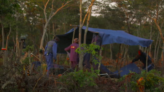 mine sweepers set up camp in angola - minesweeping stock videos & royalty-free footage