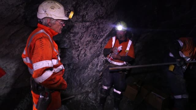 Mine workers lay explosives in the underground tunnels inside the Curraghinalt gold project operated by Dalradian Resources Inc near Omagh Northern...
