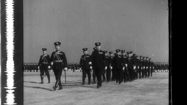 mineichi koga the commanderinchief of yokosuka naval station reviews the imperial japanese navy during world war ii - battleship stock videos & royalty-free footage