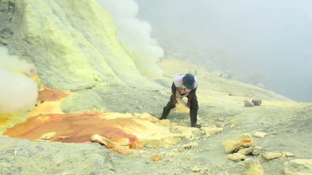 MS Miner working on the sulfur extraction at Ijen volcano crater / Ijen, Java, Indonesia