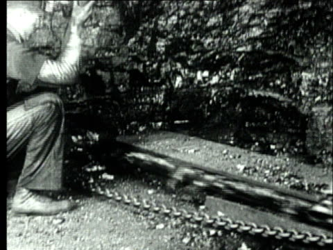 vidéos et rushes de 1927 b/w ms miner working with coal cutter machine to extract bituminous coal in mine/ pennsylvania, usa - mineur de charbon