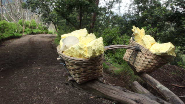 MS Miners baskets with solid sulfur / Ijen, Java, Indonesia