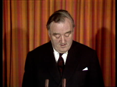 william whitelaw speech; england: int william whitelaw mp speech sot - ... we are not fighting the unions, we are not fighting the miners, we are... - mp stock-videos und b-roll-filmmaterial
