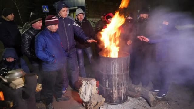 miners gather in the small ukranian town of novogrodivka to protest against a state owned enterprise that has not paid their salaries for several... - ukraine stock videos & royalty-free footage