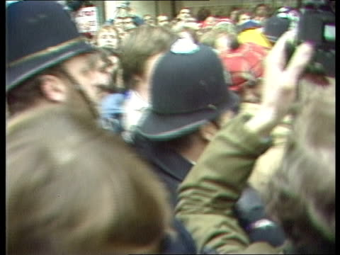 miners leaders disagree over strike action; miners leaders disagree over strike action; england: london mass of miners and police outside num hq tilt... - miner stock videos & royalty-free footage