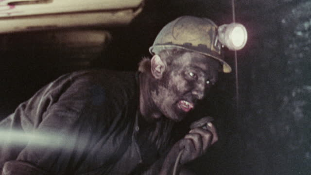 1973 montage miners operating coal mining machinery / united kingdom - coal mine stock videos & royalty-free footage