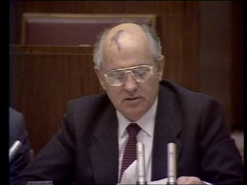 stockvideo's en b-roll-footage met miners return to work itn lib moscow ms mikhail gorbachev sitting speaking at party congress cms gorbachev speaking cms man at podium speaking at... - mikhail gorbachev
