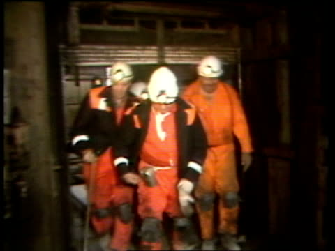 day 10 cortonwood colliery itn lib scotland edinburgh monktonhall colliery ms ian macgregor ncb chairman out of lift cage with miner in donkey jacket... - miner stock videos & royalty-free footage