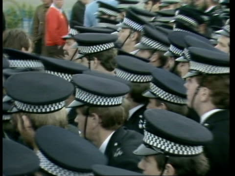 miners' strike day 108 c bilston glen miners out of pit with police in foreground ts pickets with police in foreground lms miners leaving lr ts... - scotland stock videos & royalty-free footage