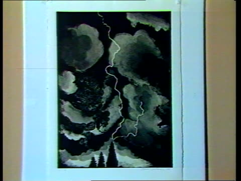 stockvideo's en b-roll-footage met miners strike / day 134; england: london: county hall: lms paintings and drawings of contemporary artists on exhibition before auction for miners... - litho