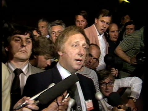 brighton brighton conference centre sof at about ten followed events cms arthur scargill down steps in conference centre towards ms scargill... - 英国 ブライトン点の映像素材/bロール