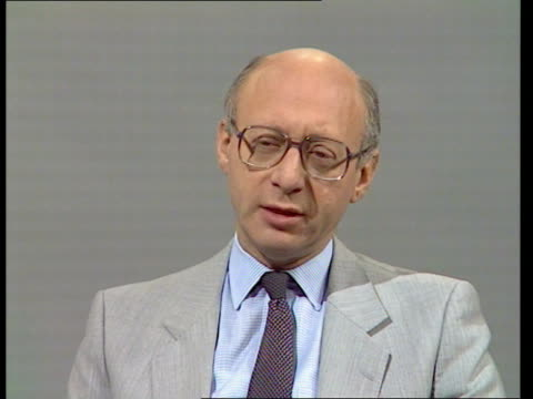 """day 211; d) nao england: london: studio: int gerald kaufman, shadow home sec intvw sof: """"i think that -- anybody else"""" video studio txd 9.10.84/nao... - gerald kaufman stock videos & royalty-free footage"""