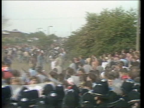 miners trials; miners trials; itn lib june 1984 england: yorkshire: orgreave: gv three rows of police across road,striking miners in b/g bv rows of... - manual worker stock videos & royalty-free footage
