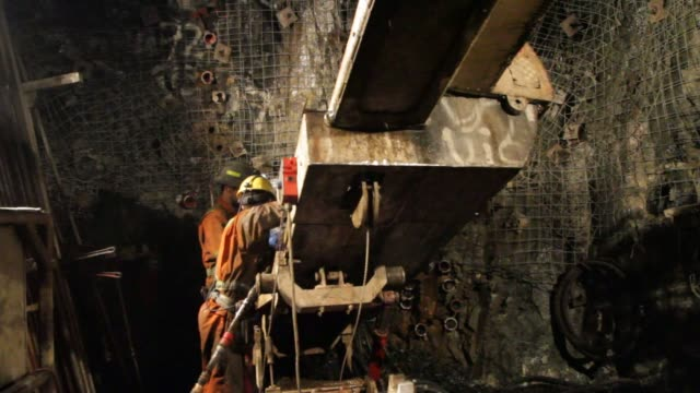 miners work underground at the glencore operated bracemac mcleod zinc and copper mine in quebec canada on september 11th 2015 shots miners prepare a... - copper mine stock videos and b-roll footage