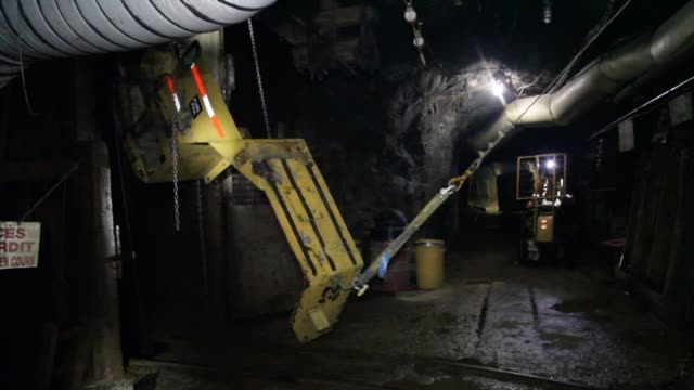 miners work underground at the glencore operated bracemacmcleod zinc and copper mine in quebec canada on september 11th 2015 shots miners drop... - copper mine stock videos and b-roll footage