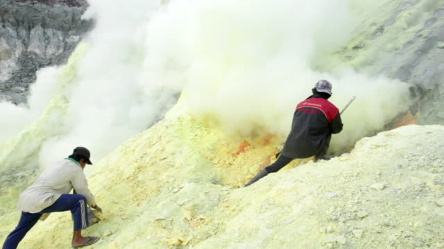 MS Miners working on the sulfur extraction at Ijen volcano crater / Ijen, Java, Indonesia