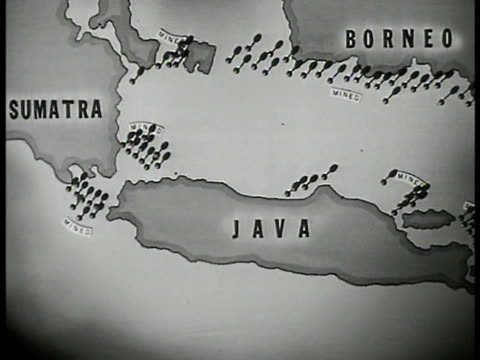 mines marked on map in waters off coast of dutch east indies borneo, java, sumatra. - java stock videos & royalty-free footage