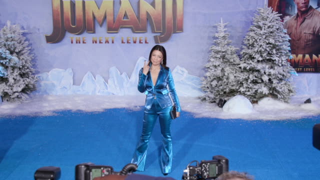 """ming-na wen at the premiere of """"jumanji: the next level"""" - ming na stock videos & royalty-free footage"""