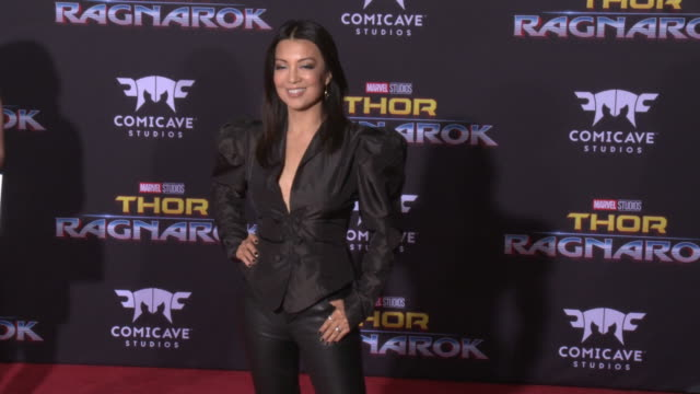 """ming-na wen at the """"thor: ragnarok"""" premiere at the el capitan theatre on october 10, 2017 in hollywood, california. - ming na stock videos & royalty-free footage"""