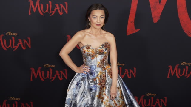 mingna wen at the world premiere of disney's mulan - gif stock videos & royalty-free footage