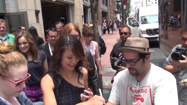 ming-na wen on streets of san diego comic con at celebrity sightings - comic-con international 2013 celebrity sightings - comic-con international... - ming na stock videos & royalty-free footage