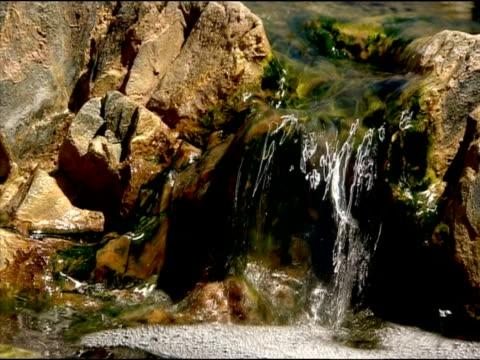 mini waterfall, rio tinto, huelva, andalusia, spain - huelva province stock videos & royalty-free footage