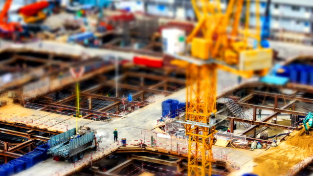 miniature construction site, tilt shift effect - multiple exposure stock videos & royalty-free footage