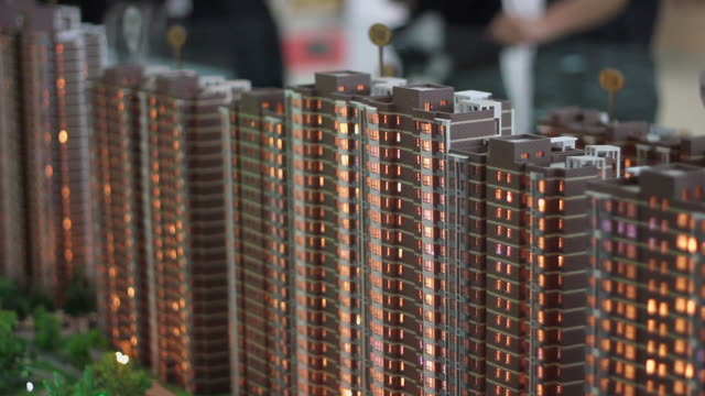 ms  miniature house in housing exhibition/xian,shaanxi,china - architectural model stock videos and b-roll footage