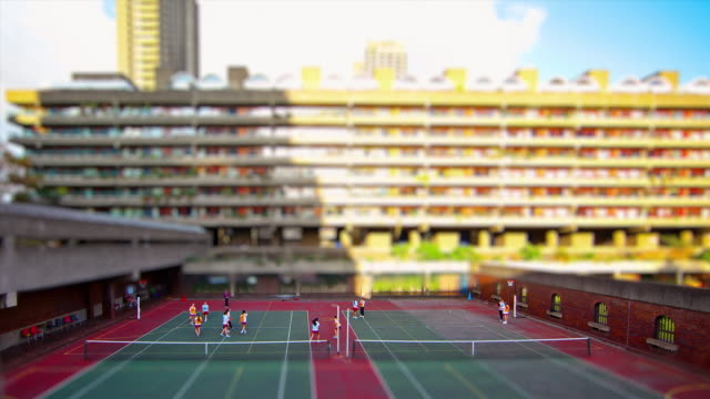 Miniature London - Barbican Center interview view of Tennis and Basketball court